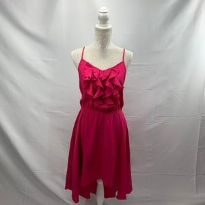 Pink Racerback Ruffle Front Hi-low Sundress